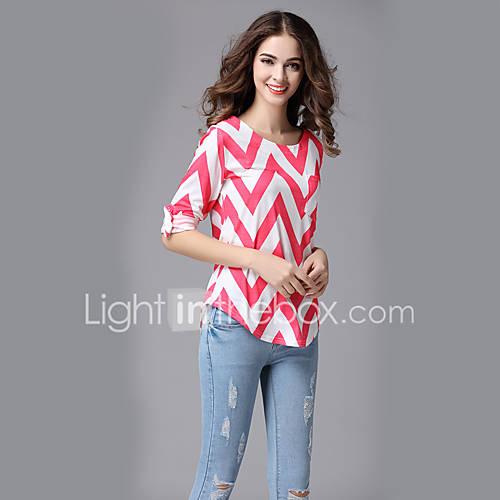 dames-eenvoudig-street-chic-zomer-t-shirt-uitgaan-casual-dagelijks-vakantie-gestreept-ronde-hals-driekwart-mouw-roze-polyester