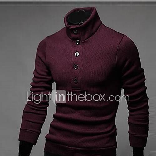 heren-casual-dagelijks-eenvoudig-normaal-vest-effen-rood-zwart-grijs-opstaand-lange-mouw-katoen-polyester-lente-herfst-medium