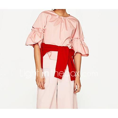 dames-sexy-eenvoudig-street-chic-lente-herfst-t-shirt-uitgaan-casual-dagelijks-effen-ronde-hals-halflange-mouw-katoen-medium
