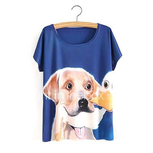 eenvoudig-schattig-lente-zomer-t-shirt-casual-dagelijks-print-ronde-hals-korte-mouw-blauw-katoen-ondoorzichtig