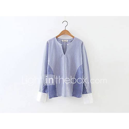 sexy-eenvoudig-street-chic-lente-herfst-overhemd-uitgaan-casual-dagelijks-effen-gestreept-strakke-ronde-hals-lange-mouw-blauw-zijde-katoen