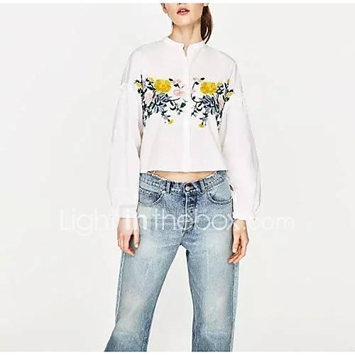 eenvoudig-street-chic-lente-herfst-overhemd-uitgaan-casual-dagelijks-geborduurd-strakke-ronde-hals-lange-mouw-wit-katoen-medium