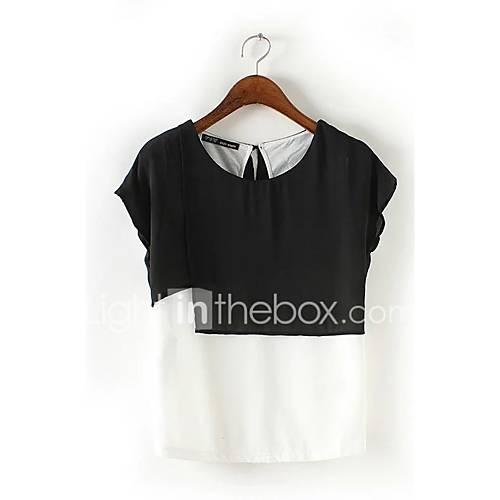 eenvoudig-street-chic-zomer-herfst-t-shirt-casual-dagelijks-uitgaan-effen-kleurenblok-ronde-hals-korte-mouw-zwart-zijde-katoen-medium