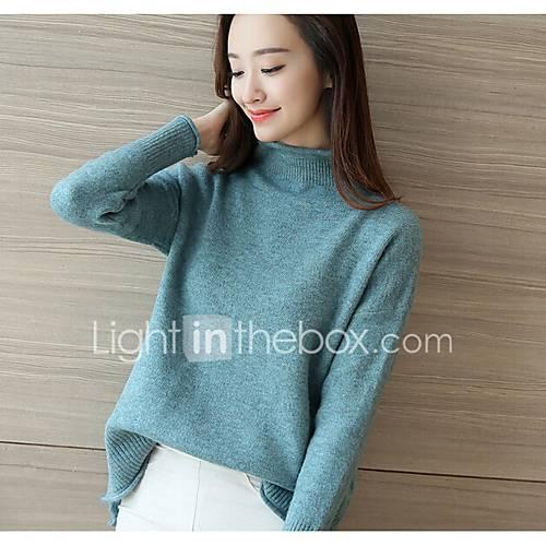 dames-casual-dagelijks-eenvoudig-kort-pullover-effen-coltrui-lange-mouw-katoen-lente-herfst-medium-micro-elastisch