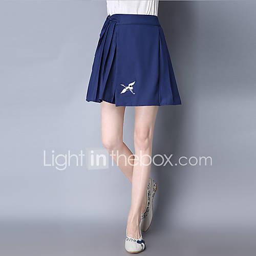 a-lijn-rokken-effen-geborduurd-vintage-chinoiserie-medium-taille-uitgaan-casual-dagelijks-mini-trekkoord-katoen-linnen-inelastisch-zomer