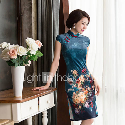 dames-uitgaan-casual-dagelijks-vintage-chinoiserie-schede-jurk-effen-opstaand-tot-de-knie-korte-mouw-acryl-zomer-medium-taille