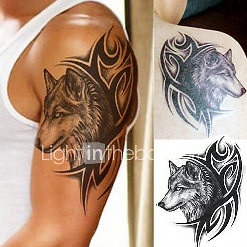 1 pcs Water Transfer Fake Tattoo Waterproof Temporary Tattoo Sticker Men Women Wolf Tattoo Flash Tattoo