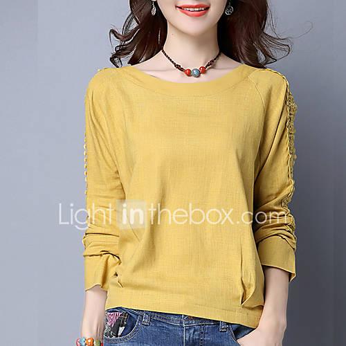 dames-eenvoudig-alle-seizoenen-t-shirt-casual-dagelijks-effen-ronde-hals-lange-mouw-wit-geel-katoen-linnen-dun