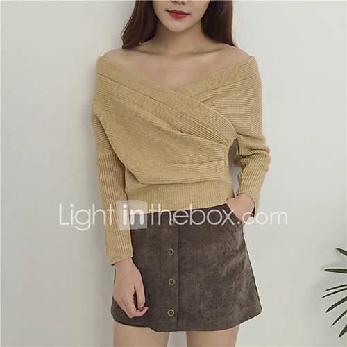 dames-uitgaan-schattig-kort-pullover-effen-boothals-lange-mouw-acryl-lente-herfst-medium-rekbaar