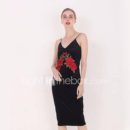 dames-casual-dagelijks-street-chic-bodycon-jurk-bloemen-bandje-midi-mouwloos-zwart-polyester-zomer-hoge-taille-micro-elastisch-dun