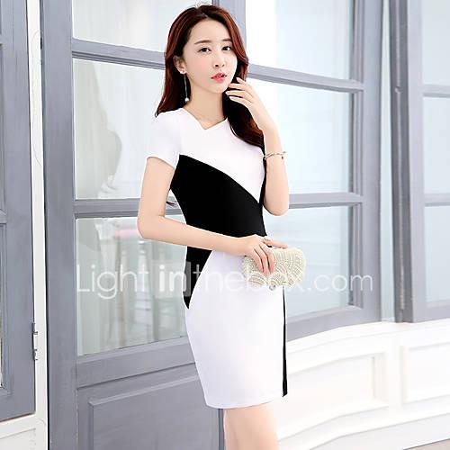 uitgaan-werk-sexy-schattig-bodycon-jurk-effen-halter-boven-de-knie-korte-mouw-wit-rayon-zomer-herfst-medium-taille-micro-elastisch-medium