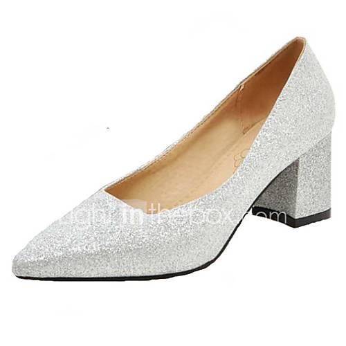 Women's Heels Spring Summer Fall PU Office  Career Dress Casual Chunky Heel Block Heel Gold Black Silver Red