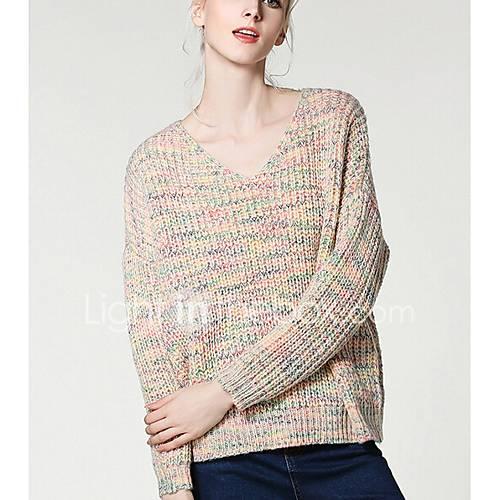 dames-uitgaan-casual-dagelijks-schattig-normaal-vest-print-v-hals-lange-mouw-katoen-winter-medium-micro-elastisch