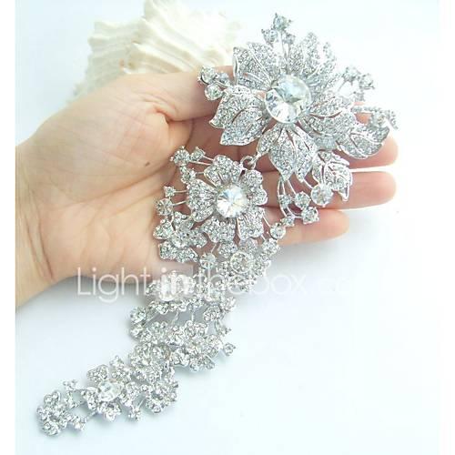 women-trendy-alloy-silver-tone-rhinestone-crystal-flower-wedding-bridal-brooch-pin