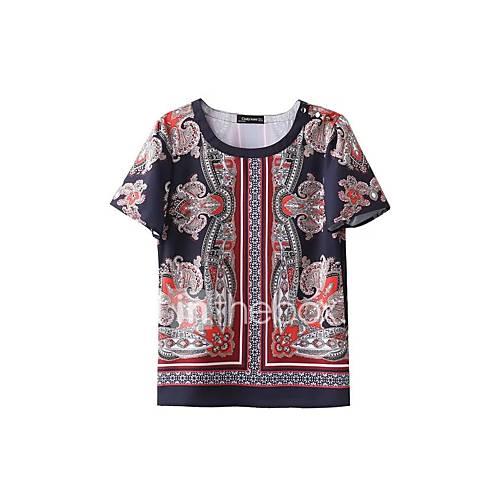 dames-sexy-eenvoudig-street-chic-lente-herfst-t-shirt-uitgaan-casual-dagelijks-bloemen-kleurenblok-regenboog-ronde-hals-korte-mouw-rood