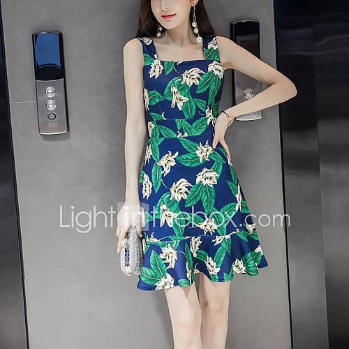 dames-casual-dagelijks-strand-sexy-street-chic-recht-jurk-print-bandje-boven-de-knie-mouwloos-katoen-polyester-zomer-hoge-taille