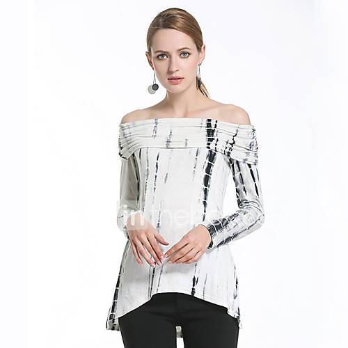 dames-schattig-street-chic-lente-zomer-t-shirt-uitgaan-casual-dagelijks-print-boothals-lange-mouw-wit-katoen-dun
