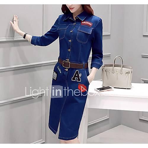dames-uitgaan-eenvoudig-a-lijn-jurk-effen-overhemdkraag-tot-de-knie-driekwart-mouw-polyester-herfst-winter-medium-taille-inelastisch