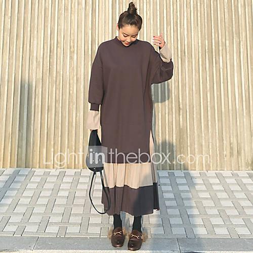 dames-casual-dagelijks-eenvoudig-ruimvallend-jurk-effen-ronde-hals-maxi-midi-lange-mouw-katoen-herfst-medium-taille-inelastisch-medium