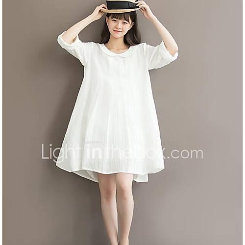 dames-uitgaan-casual-dagelijks-vintage-eenvoudig-a-lijn-jurk-effen-ronde-hals-boven-de-knie-driekwart-mouw-katoen-linnen-zomer-hoge-taille
