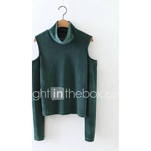 dames-eenvoudig-casual-dagelijks-petite-sweatshirt-effen-oversized-coltrui-micro-elastisch-polyester-lange-mouw-winter