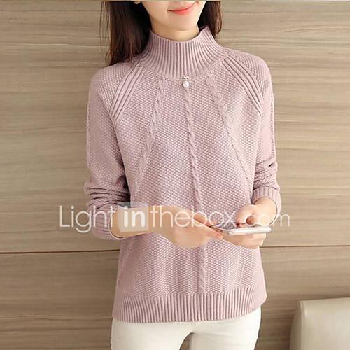 dames-casual-dagelijks-eenvoudig-normaal-pullover-effen-opstaand-lange-mouw-katoen-lente-medium-micro-elastisch