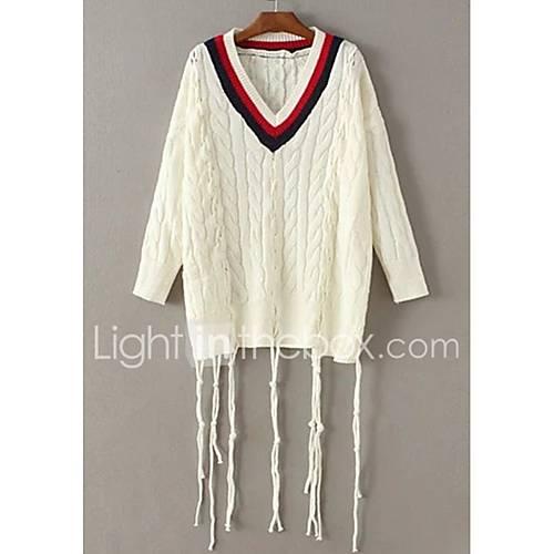 dames-uitgaan-casual-dagelijks-eenvoudig-street-chic-normaal-pullover-effen-kleurenblok-v-hals-lange-mouw-wol-lente-medium-micro-elastisch
