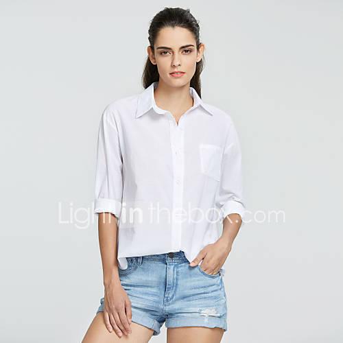vrouwen-eenvoudig-zomer-overhemd-casual-dagelijks-effen-overhemdkraag-lange-mouw-wit-katoen-ondoorzichtig