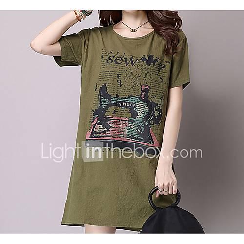 dames-casual-dagelijks-t-shirt-jurk-effen-print-ronde-hals-boven-de-knie-lange-mouw-linnen-lente-lage-taille-micro-elastisch-medium