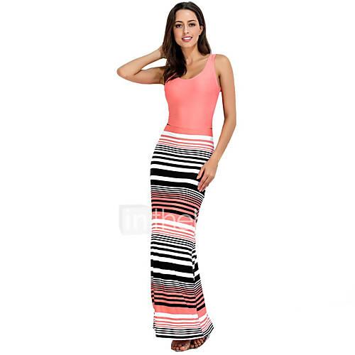 dames-uitgaan-vakantie-sexy-bodycon-jurk-gestreept-u-hals-maxi-mouwloos-polyester-zomer-medium-taille-micro-elastisch-medium