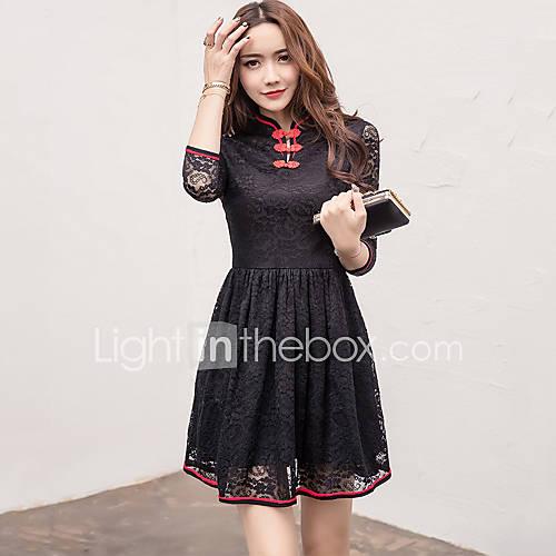 dames-uitgaan-casual-dagelijks-vintage-chinoiserie-kant-jurk-effen-ronde-hals-boven-de-knie-driekwart-mouw-rood-zwart-katoen-polyester
