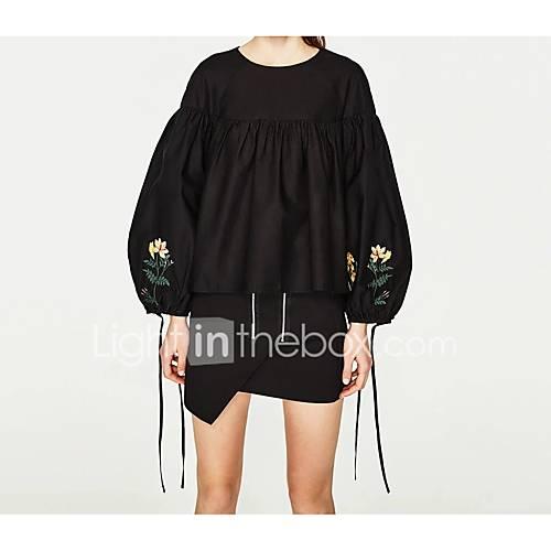 dames-sexy-eenvoudig-street-chic-lente-herfst-t-shirt-uitgaan-casual-dagelijks-geborduurd-ronde-hals-halflange-mouw-katoen-medium