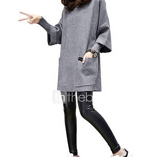 dames-sexy-eenvoudig-uitgaan-sweatshirt-effen-ronde-hals-micro-elastisch-katoen-driekwart-mouw-winter