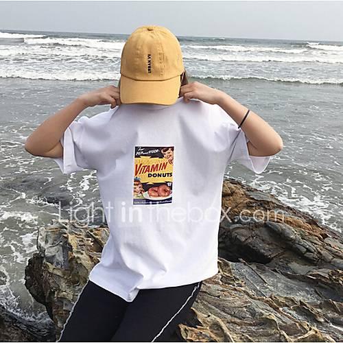dames-schattig-lente-zomer-t-shirt-uitgaan-casual-dagelijks-print-ronde-hals-korte-mouw-katoen-medium