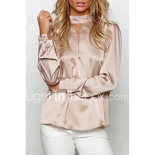 dames-eenvoudig-street-chic-lente-herfst-t-shirt-uitgaan-casual-dagelijks-effen-ronde-hals-lange-mouw-roze-zwart-oranje-katoen-medium