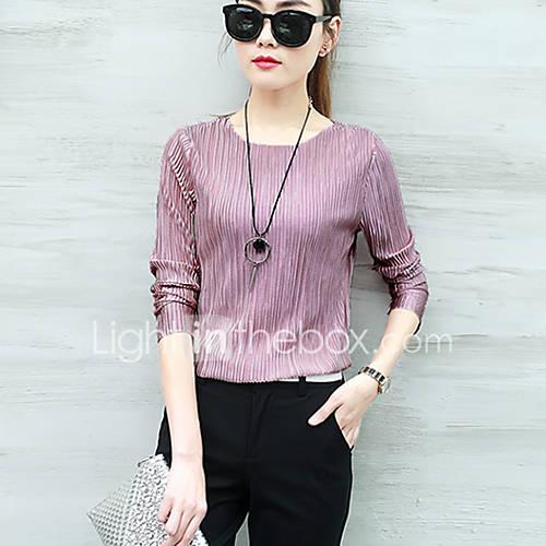 dames-eenvoudig-street-chic-alle-seizoenen-t-shirt-casual-dagelijks-effen-ronde-hals-lange-mouw-rayon-polyester-dun
