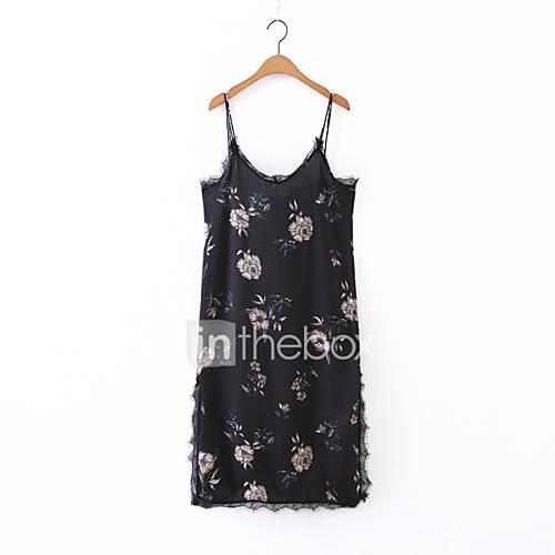 dames-uitgaan-casual-dagelijks-eenvoudig-street-chic-ruimvallend-schede-kant-jurk-effen-bloemen-bandje-midi-tot-de-knie-mouwloos-zwart