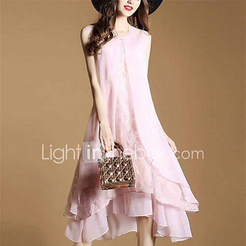 dames-casual-dagelijks-uitgaan-eenvoudig-schattig-ruimvallend-jurk-effen-ronde-hals-midi-mouwloos-polyester-lente-zomer-medium-taille
