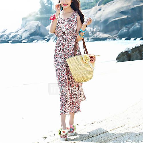 dames-strand-vakantie-boho-chiffon-jurk-print-ronde-hals-midi-mouwloos-roze-polyester-zomer-medium-taille-micro-elastisch-dun