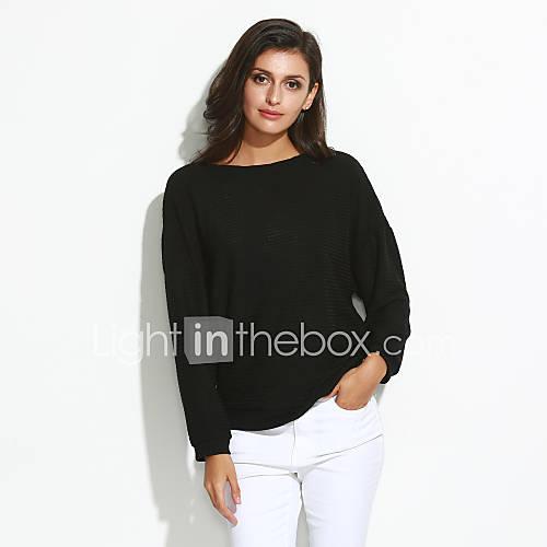 dames-casual-dagelijks-eenvoudig-normaal-pullover-effen-blauw-rood-wit-zwart-grijs-ronde-hals-lange-mouw-katoen-herfst-winter-medium