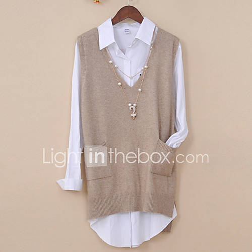 dames-casual-dagelijks-eenvoudig-actief-normaal-pullover-effen-v-hals-mouwloos-wol-lente-herfst-medium-micro-elastisch