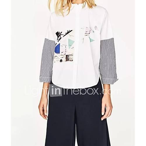 dames-sexy-eenvoudig-street-chic-lente-herfst-overhemd-uitgaan-casual-dagelijks-gestreept-print-kleurenblok-overhemdkraag-lange-mouw-wit