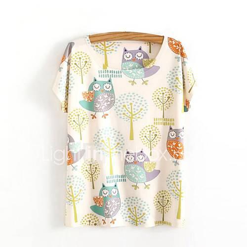 eenvoudig-schattig-lente-zomer-t-shirt-casual-dagelijks-print-ronde-hals-korte-mouw-beige-katoen-ondoorzichtig