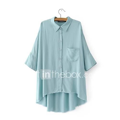 dames-sexy-eenvoudig-street-chic-lente-herfst-t-shirt-uitgaan-casual-dagelijks-effen-overhemdkraag-halflange-mouw-blauw-katoen-medium