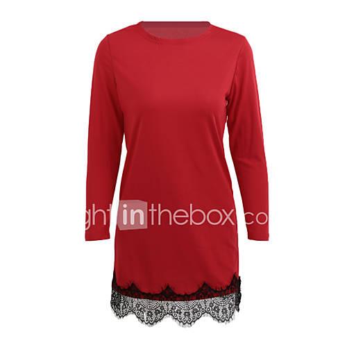 dames-casual-dagelijks-nette-schoenen-eenvoudig-schede-jurk-effen-ronde-hals-boven-de-knie-lange-mouw-polyester-alle-seizoenen-lage-taille
