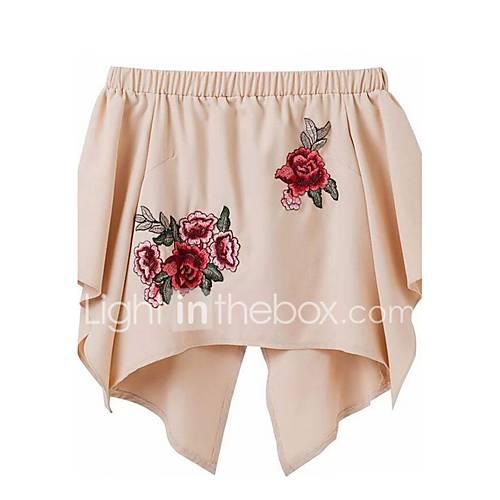 dames-schattig-street-chic-lente-zomer-t-shirt-uitgaan-casual-dagelijks-geborduurd-boothals-halflange-mouw-roze-zwart-polyester-dun
