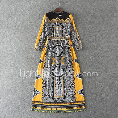 dames-casual-dagelijks-strand-vintage-eenvoudig-schede-jurk-print-ronde-hals-maxi-lange-mouw-overige-lente-zomer-medium-taille-inelastisch