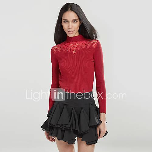 dames-casual-dagelijks-eenvoudig-schattig-normaal-pullover-effen-rood-zwart-grijs-strakke-ronde-hals-lange-mouw-katoen-polyester-herfst
