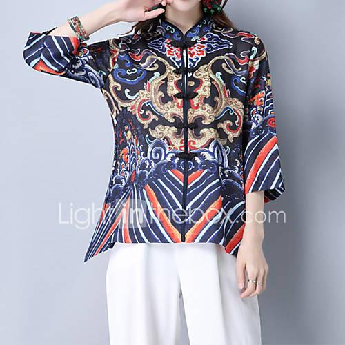 dames-vintage-schattig-chinoiserie-lente-herfst-t-shirt-uitgaan-casual-dagelijks-vakantie-bloemen-geborduurd-assymmetrisch-halflange-mouw
