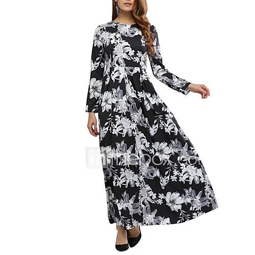 dames-uitgaan-casual-dagelijks-vintage-street-chic-schede-wijd-uitlopend-jurk-bloemen-ronde-hals-maxi-lange-mouw-polyester-lente-herfst